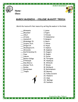 March Madness - College Mascot Trivia