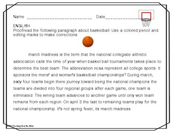 March Madness Cross-Curricular Classroom Activities 2017