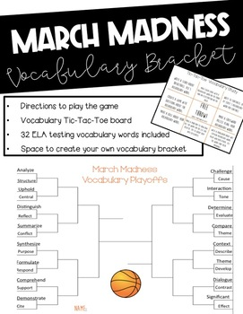 March Madness ELA Test Prep or General Vocabulary Playoff Bracket