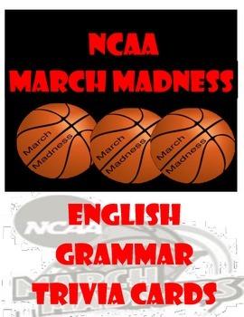 March Madness English Grammar Flash Cards