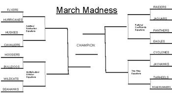 March Madness Solving One and Two Step Equations