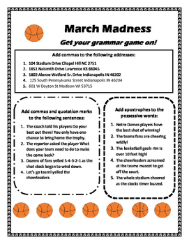 March Madness Grammar Review