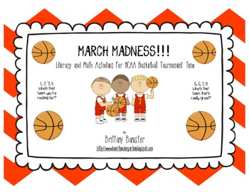 March Madness Literacy and Math Centers for Primary