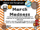 March Madness   MAIN IDEA / CONTEXT CLUES passage with  puzzle game