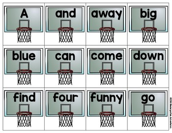March Madness Matching Sight Word Game-Dolch Pre-Primer and Primer words