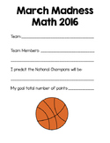 March Madness Math Basketball Tournament Project 2016 {Com
