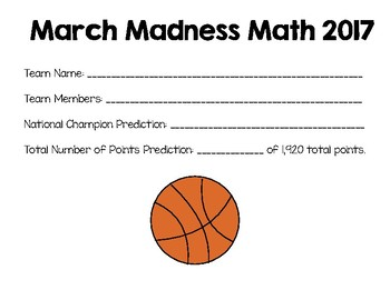 March Madness Math Basketball Tournament Project 2017 {Com