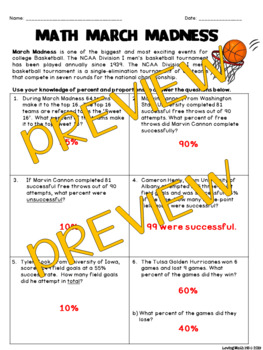 March Madness: Math Activity - Percent and Proportion