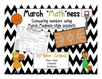 March Madness Math Brackets - Compare Using Place Value, Decimals