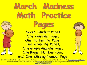 March Madness Math Practice Pages for Kindergarten- Basketball