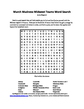 March Madness Midwest Teams Word Search, A Basketball ...