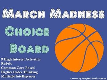 March Madness NCAA Basketball Tournament Choice Board Activities Menu