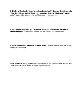 March Madness Paired Text Questions