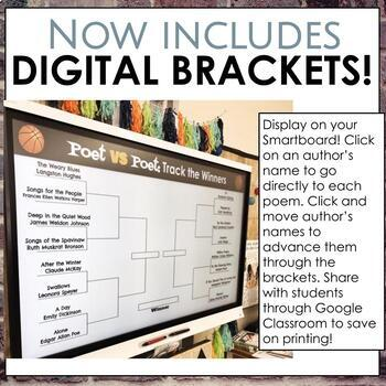 Digital Learning Friendly March Madness Poet vs Poet Packet with Digital Bracket