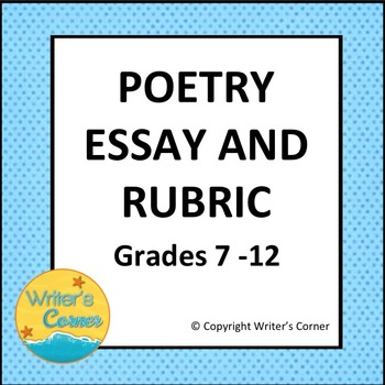 Poetry Essay Writing, Compare and Contrast, Writing Rubric, CCSS, Editable
