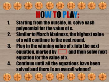 March Madness Polynomial Bracketology