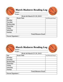 March Madness Reading Log 2015