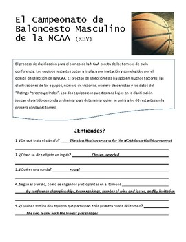 March Madness Spanish Reading Activity