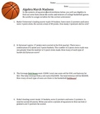 March Madness Systems of Equations Worksheet