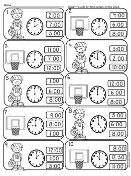 March Madness Telling Time to Hour