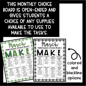 March Makerspace STEM Choice Board