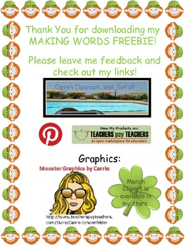 March Making Words Freebie
