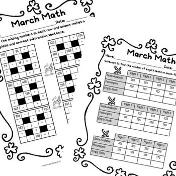 March Math - 20 Days of 3rd Grade Mixed Practice