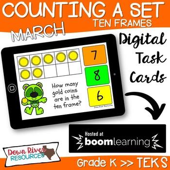 March Math Boom Cards | Ten Frames Kindergarten TEKS