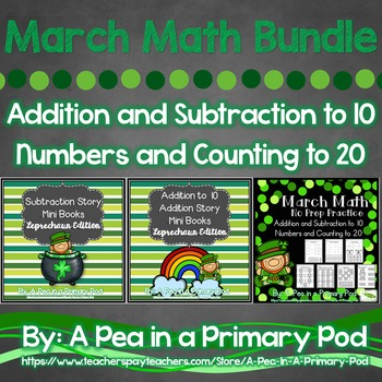 March Math Bundle Add, Subtract, Count(Leprechaun/St. Patr