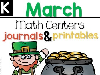 March Math Centers, Journals, and Printables Kindergarten