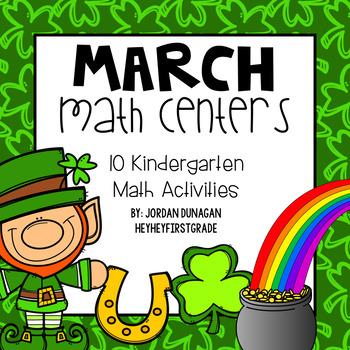 March / St. Patrick's Day KINDERGARTEN Math Centers