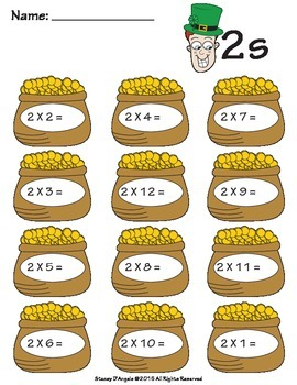 March Math Multiplication Facts Test