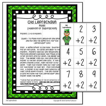 St. Patrick's Day Math Games: Addition and Subtraction