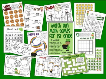 March Math Games for 1st Grade - St. Patrick's Day & March Madness