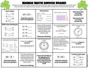 Math Homework Choice Board (March)