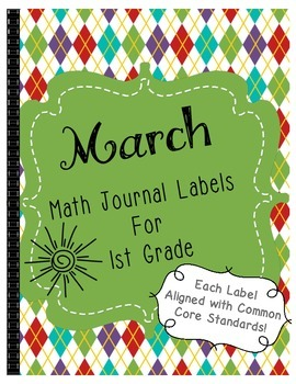 March Math Journal Labels ~ CCSS Aligned