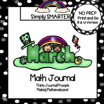March Math Journal:  NO PREP Journal Prompts