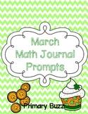March Math Journal Prompts {First Grade}