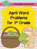 April Math Journal Word Problems for 1st Grade