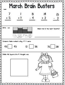 March Math Pack (1st Grade Common Core)