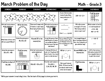 March Math Problem of the Day Calendar