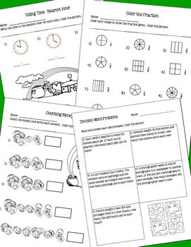 March Math Skills Review for 2nd-3rd Grades - NO PREP (Theme: St. Patrick's Day)