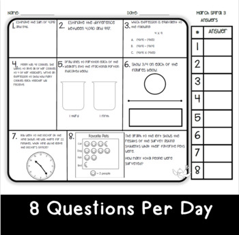 March Math Spiral Review: Daily Math for 3rd Grade (Print and Go)