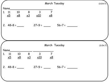 March Math Warm-Ups- Third Grade Common Core Aligned