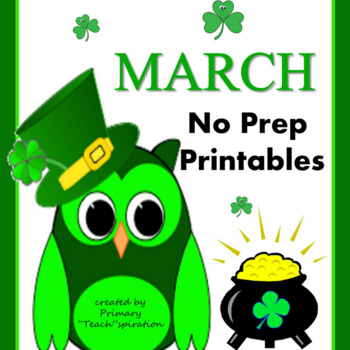 March Math and Literacy NO PREP Spring Printables for Comm