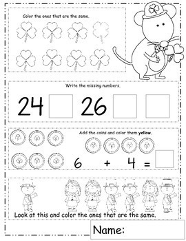 March  Math Worksheets, St. Patrick's Day Math, Daily Math for March Activities