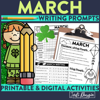 March Mega-Writing Packet {Task Card Prompts, Posters, & Writing Process}