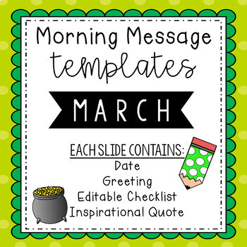 March Morning Message Editable Template