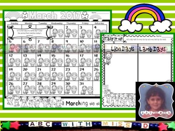 March Morning Work- Lion and Lamb Calendar Tallying and Poster Poem