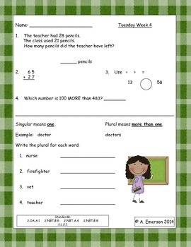 March Morning Work Second Grade Common Core Standards